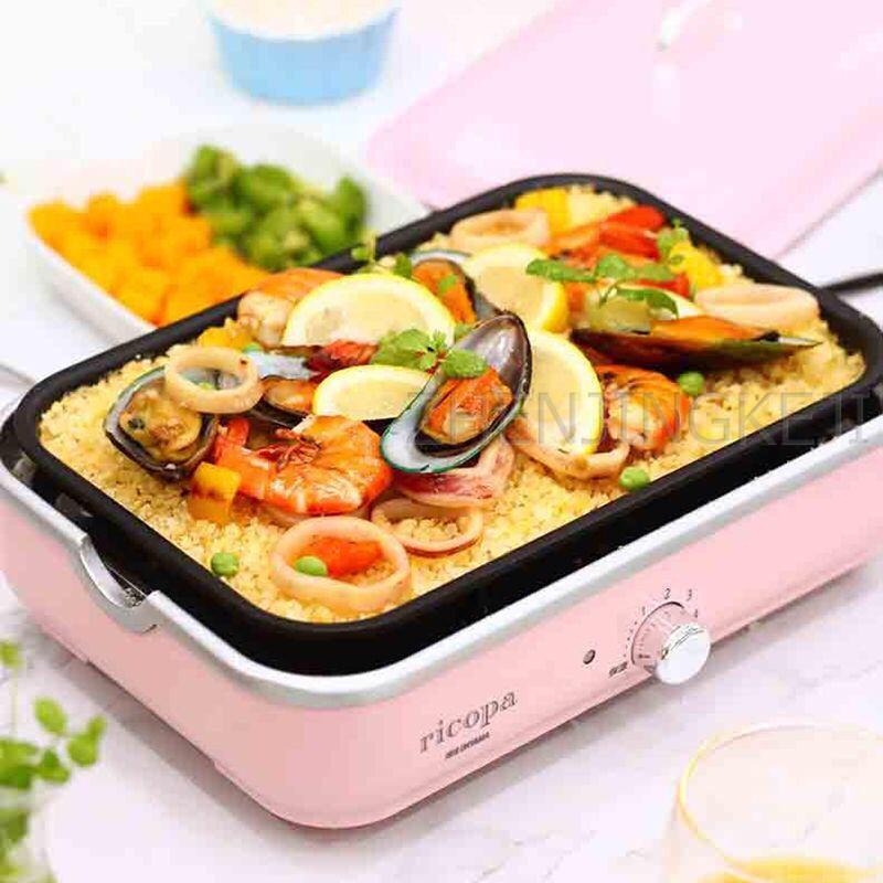 Múltiples funciones eléctrico recipiente para hornear Inicio Hot Pot de cocina antiadherente Pan Barbacoa Máquina Grill Procesador temperatura constante