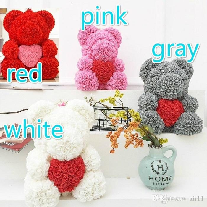 DropShipping 40cm with Heart Big Red Bear Rose Flower Artificial Decoration Christmas Gifts for Women Valentines Gift No box in stock
