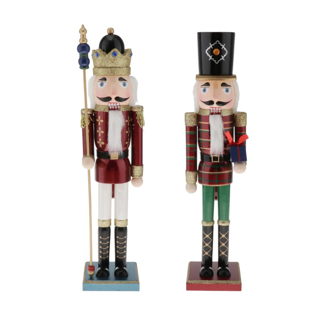2x 50cm Wooden Nutcracker Soldier/King Toy Home Decor Kids Christmas Gift Puppet Doll Soldier Figure Display Collection Ornament