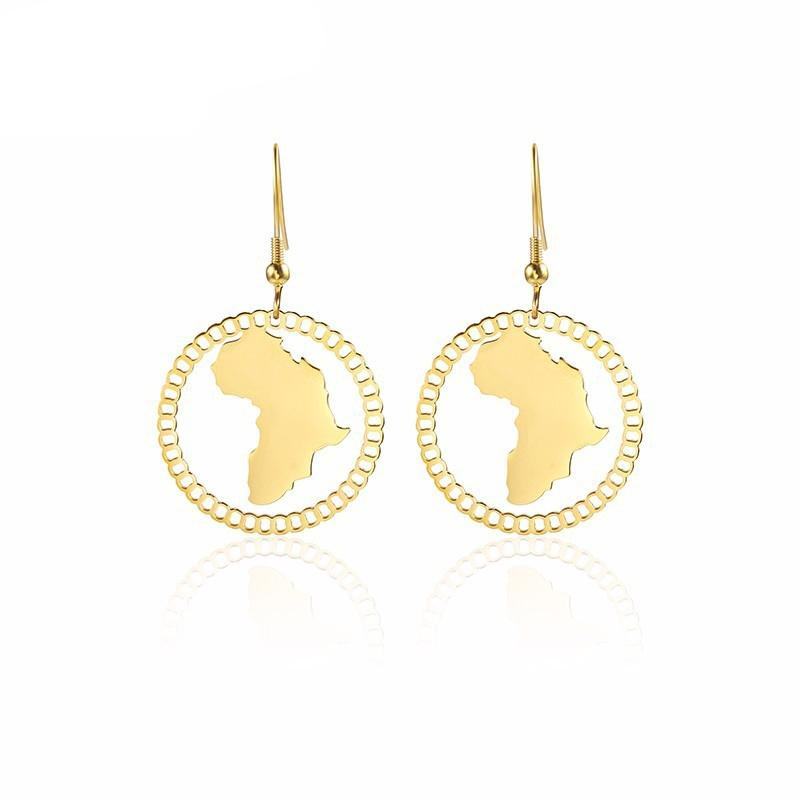 الذهب خريطة أقراط أفريقيا مجوهرات الجوف الافريقية الأساس القارة المرأة إسقاط أقراط في الفولاذ المقاوم للصدأ والنيكل خالية من الرصاص