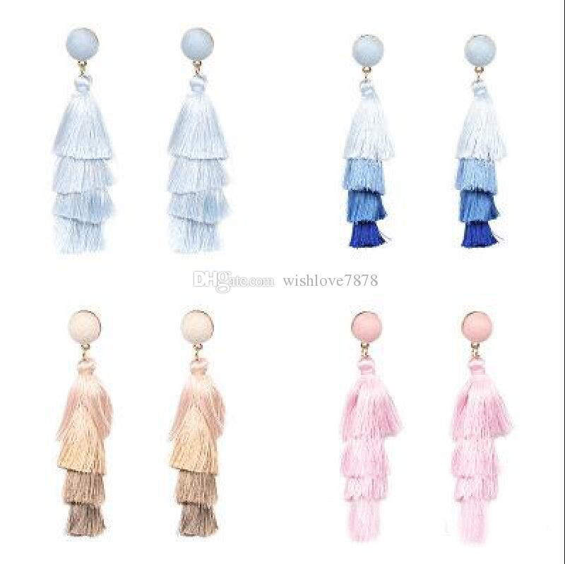 8 Colors Bohemian 4 Layers Tassel Earring Studs Chandelier Designer Jewelry Des Boucles D'oreilles Orecchini Women Long Earrings