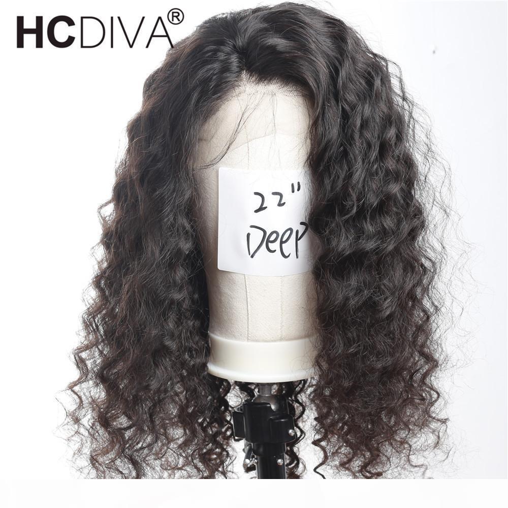Brésilien Cheveux Vierge de dentelle perruques de cheveux humains pour les femmes noires vague profonde 130% Densité avant de dentelle perruque avec bébé cheveux pré-pincées Hairline