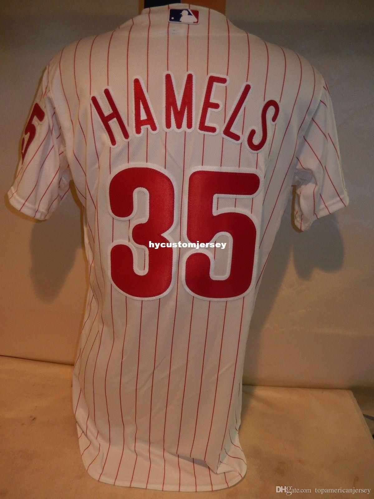encargo baratos MAJESTIC Philadelphia # 35 para hombre blanca 40 COLE Hamels Top juegos Jersey jerseys cosidas grandes y altos TAMAÑO XS-6XL Venta