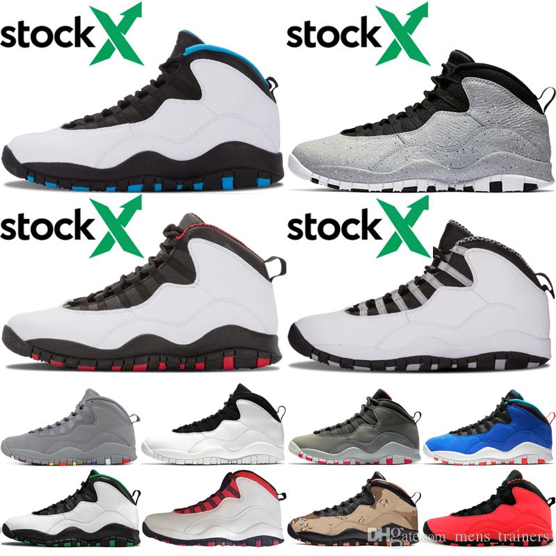 10 10s Men Basketball Shoes 2020 Seattle Chicago Cool Grey Powder Blue Cement GS Fusion Red Steel Grey trainer shoes 7-13