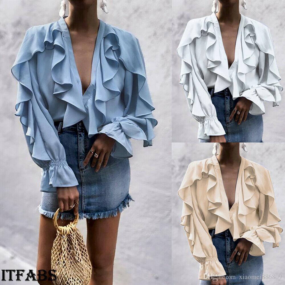 Femmes dames en mousseline de soie à volants cloche manches lâche t-shirt top blouse d'été