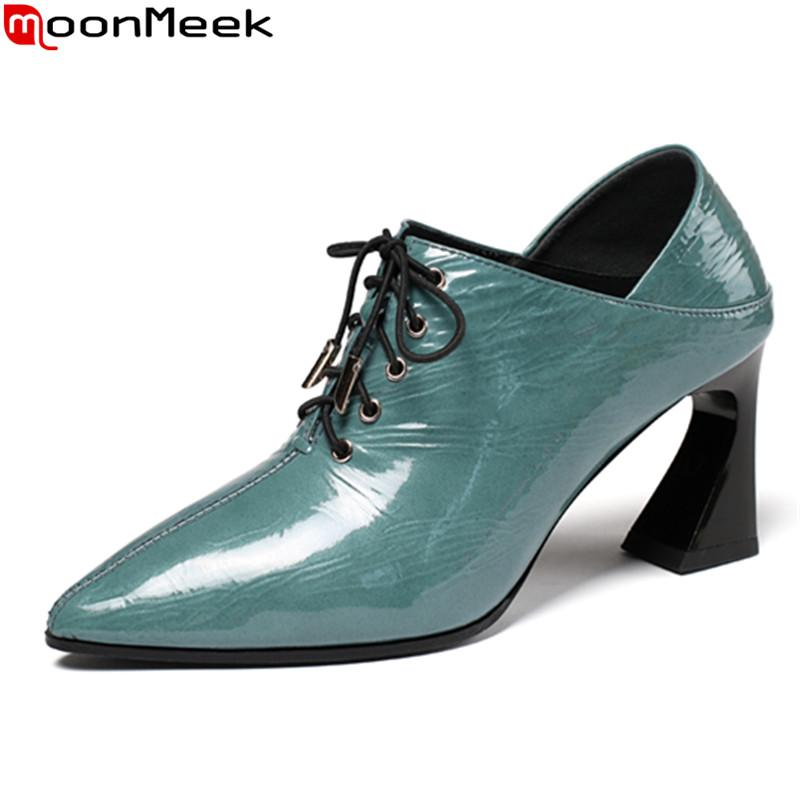 MoonMeek 2020 New fashion high heels shoes genuine leather pumps simple lace up pointed toe office shoes black blue