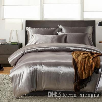 (مل 3pcs 4PCS) مجموعة فاخرة الحرير الناعمة الحرير ورقة السرير مجموعة الفندق Quality الصلبة اللون مجموعة مفروشات للحريري سرير مسطح ورقة جاهزة ورقة وسادة القضية