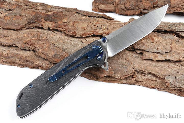 In Stock DHL Shipping New Flipper Folding Knife D2 Satin Blade Black G10 Handle Ball Bearing Fast Open EDC Pocket Knives