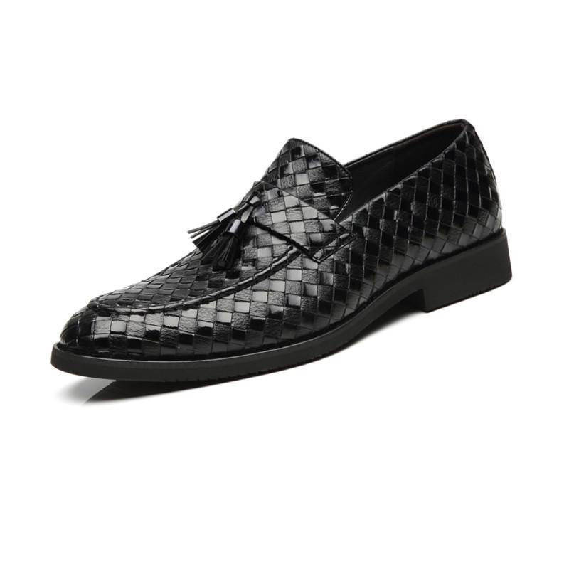 뜨거운 판매 술 꼰 패턴 정품 가죽 신발 슬립 캐주얼 로퍼 남성 비즈니스 신발 정장 드레스 Dropshipping를 H281
