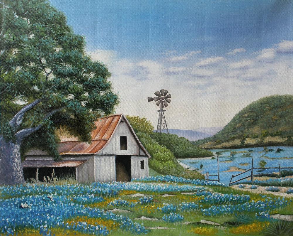 Grand Peint À La Main Mur Art Texas Bluebonnets Paysage Peinture À L'huile Reproduction sur Toile Home Office Salon Décor, Multi Tailles HFJ1106