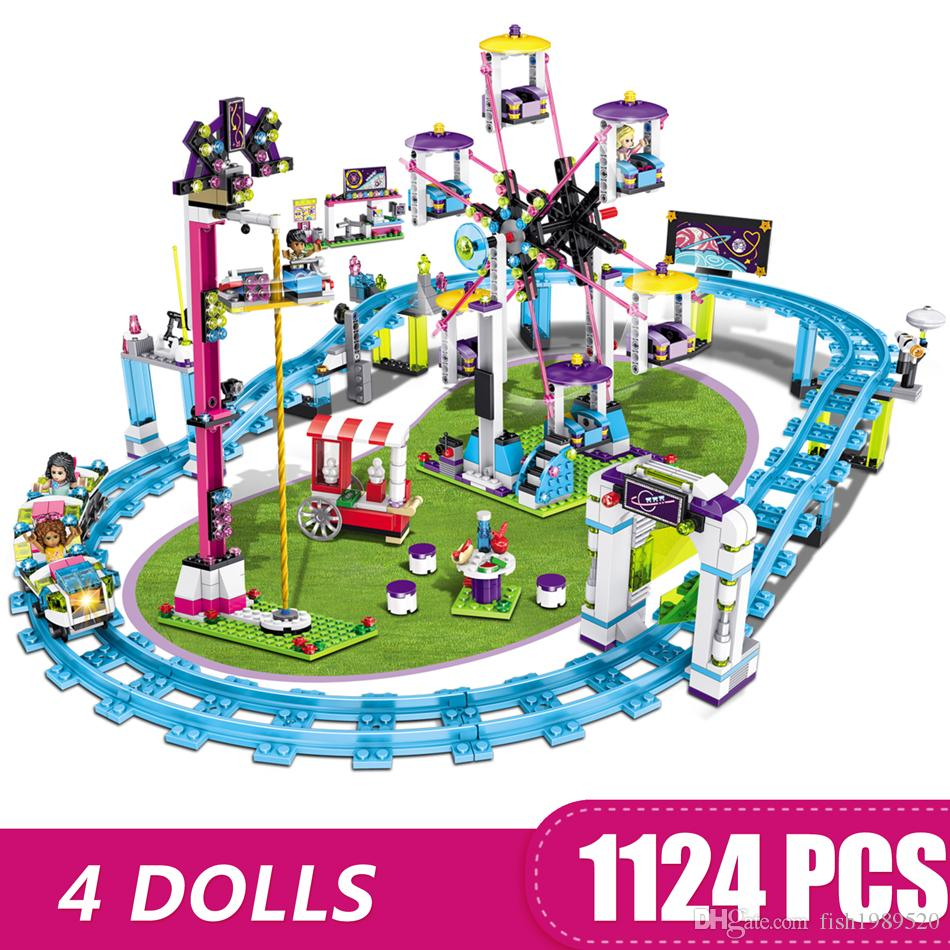 1124PCS Small Building Blocks Toys Compatible with Legoe Roller Coaster Gift for girls boys children DIY
