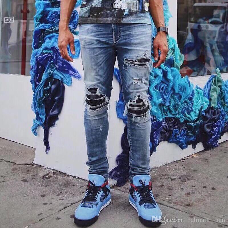 Мужские дизайнерские джинсы Модные твердые классические легкие легкие джинсы AM Мужские повседневные твердые классические прямые джинсовые дизайнерские джинсы Размер США 29-40
