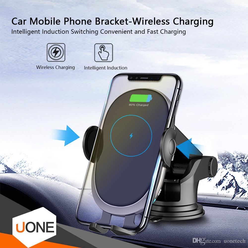 HLY-C6 беспроводной Автомобильное зарядное устройство 10W Fast Charger Автоматический датчик Маунт автомобиля Воздуховод Гравитация Телефон держатель для iPhone 11 Pro XS MAX XS 8 Plu