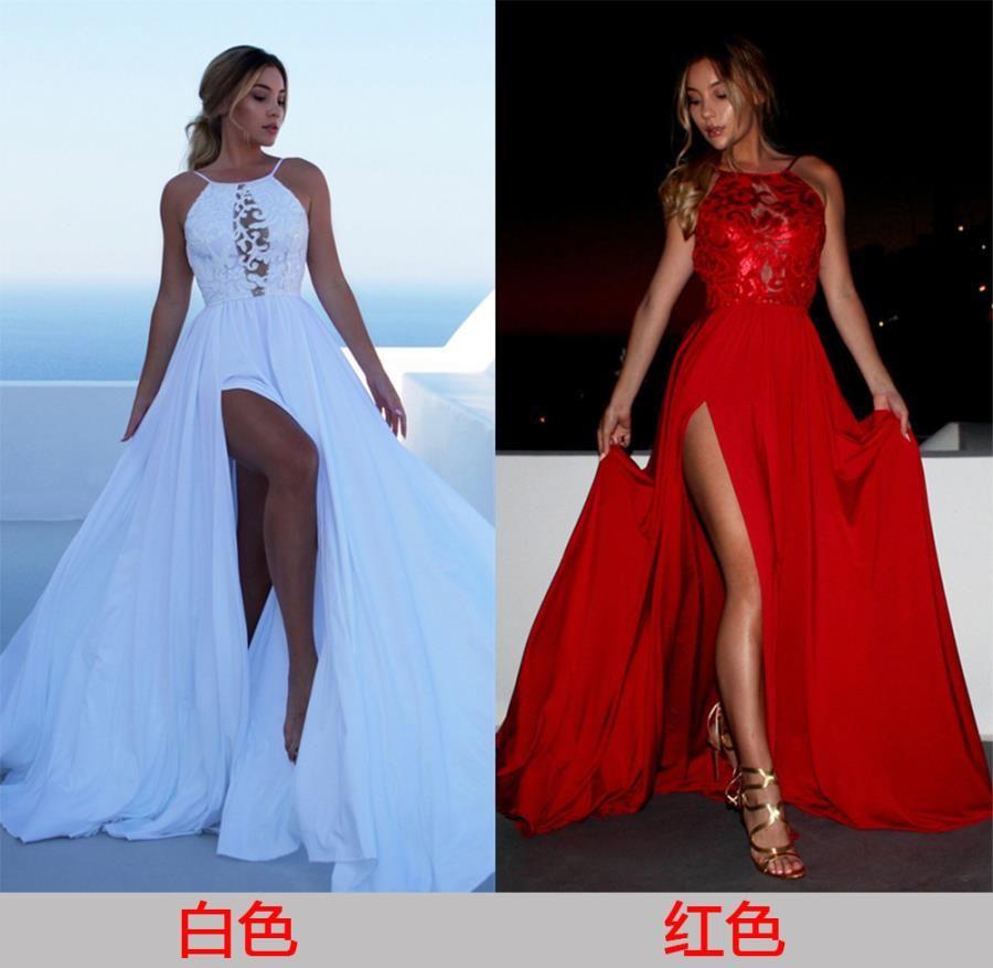 Ropa Primavera y 2020 nuevo vestido sin mangas liga del verano vestido largo vestido de fiesta rojo blanco