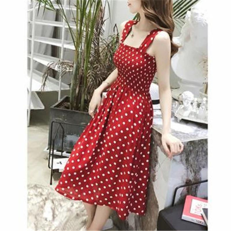 Dress children in the long section Polka Dot Dress summer fairy word shoulder ride the red strap was thin base skirt