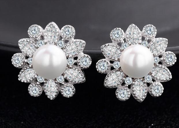 Korean version of zircon fashion OL jewelry accessories pearl earrings