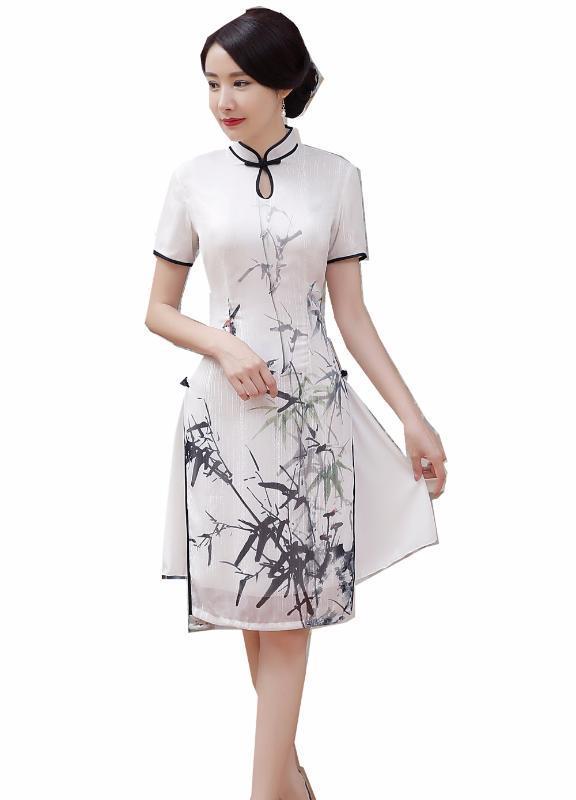 Shanghai Story Bianco Vietnam Aodai cinese tradizionale abbigliamento per signore della donna Qipao ginocchio lunghezza abito orientale cinese