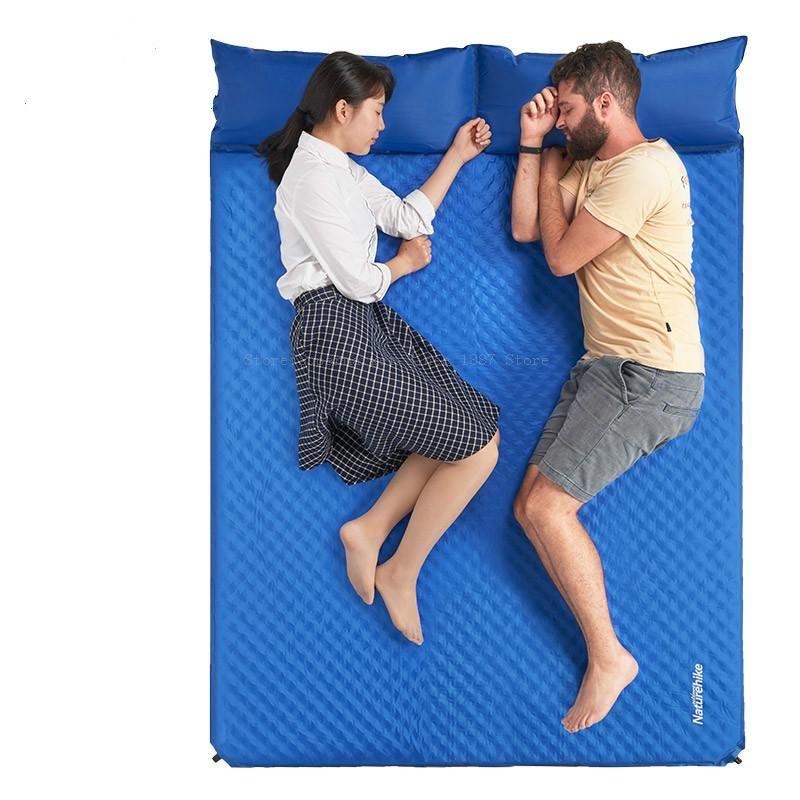 almofada inflável automática acampamento ao ar livre, camping mat tenda dormir umidade pad dupla espessamento colchão mat piquenique