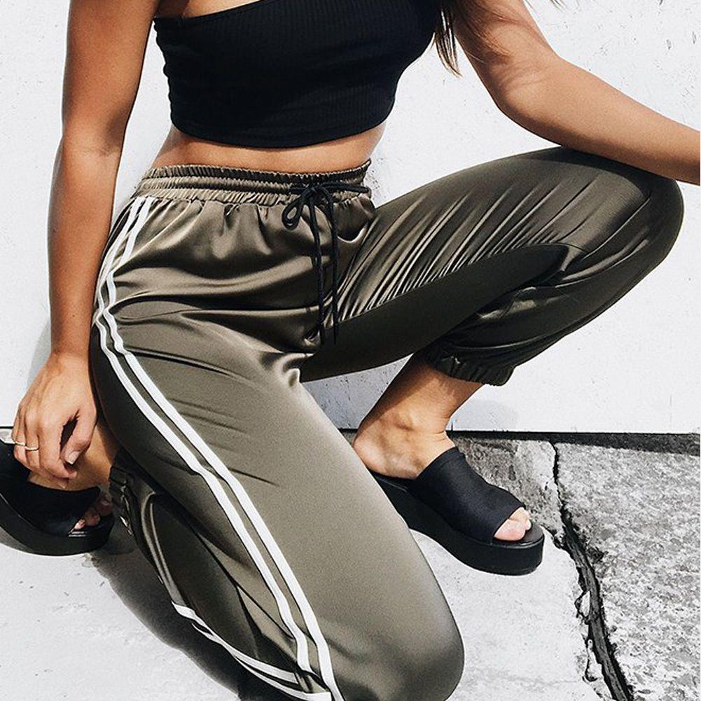 Мода Женщины бегуны вскользь Сыпучие Боковые Полосатый Длинные брюки тренировочные брюки Брюки Леггинсы Пот Wear Плюс размер M-XL