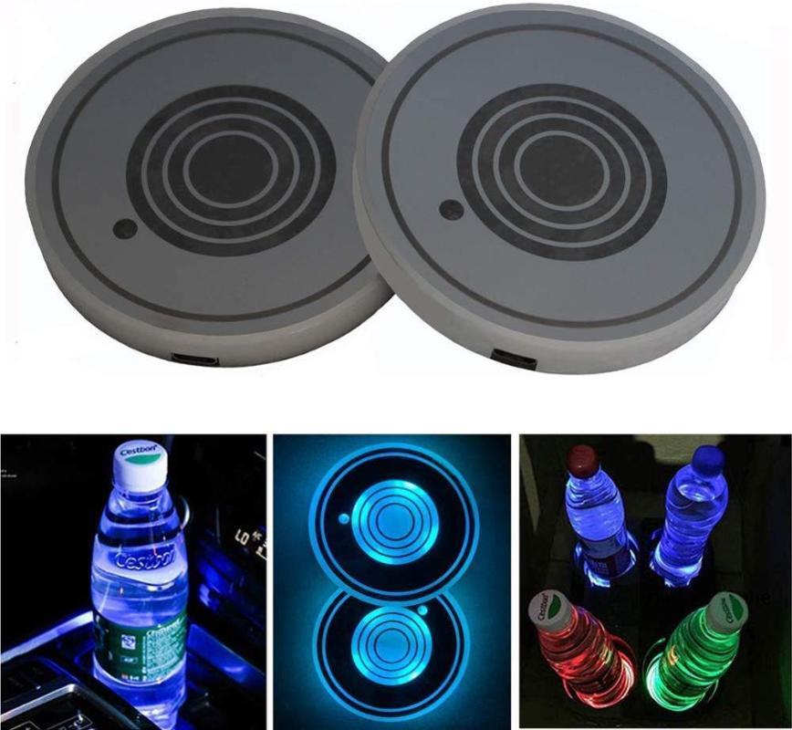 منظم كأس الوسادة VGETTING 1PC سيارة LED ضوء USB حامل لماتس الوقايات زجاجة 7 ألوان السيارات داخل الغلاف الجوي الخفيفة