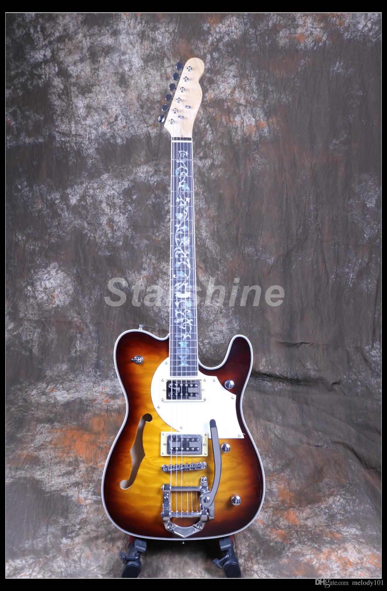 Starshine Electric Guitar CC-TL60 Custom Style Flower Inlay Semi Hollow Body