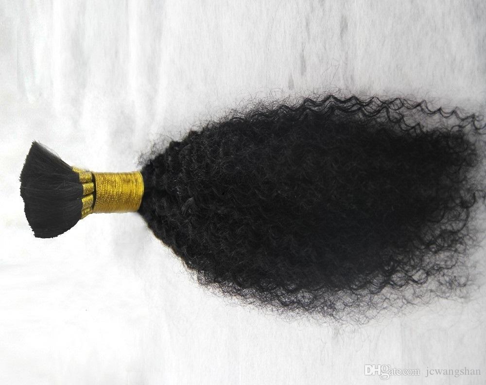 Чистый цвет бразильский Kinky завитые Bulk 100% человеческих волос Для плетение 6a Необработанные волос Связки 10-30 Inchs