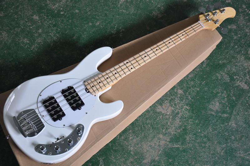 4 Strings Beyaz gövde Beyaz Pickguard Siyah kamyonet, akçaağaç klavye ile Elektrik Bas Gitar, teklif özelleştirilmiş