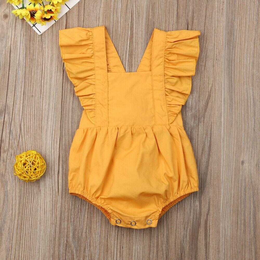 Yenidoğan Bebek Kız Boys Sevimli Bodysuits fırfır Kısa Kollu Katı Tulum Genel Giyim Yaz 0-24M