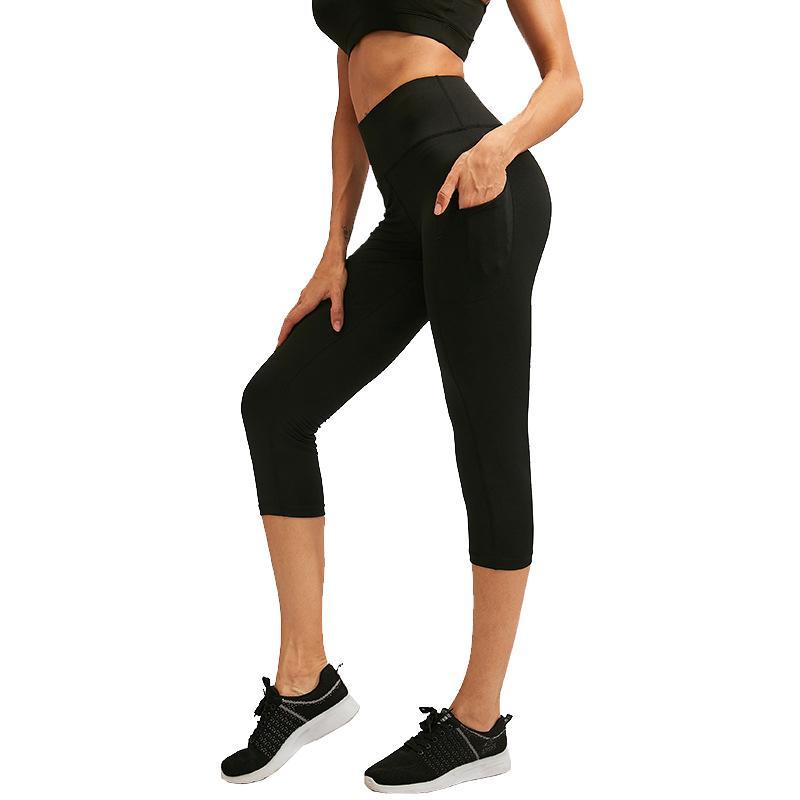 Pantaloni Yoga donne con tasche a vita alta Sporty delle calzamaglia delle ghette Stretch fitness allenamento Esecuzione Pantaloni a sigaretta Gym Sportswear