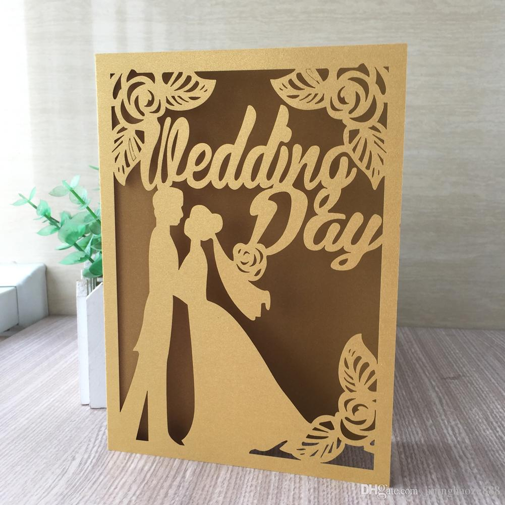 50PCS /lot Bride And Groom Engagements Ceremony Wedding Invitation Cards Marriage Invitations Lovers Happiness Invitations Supplies