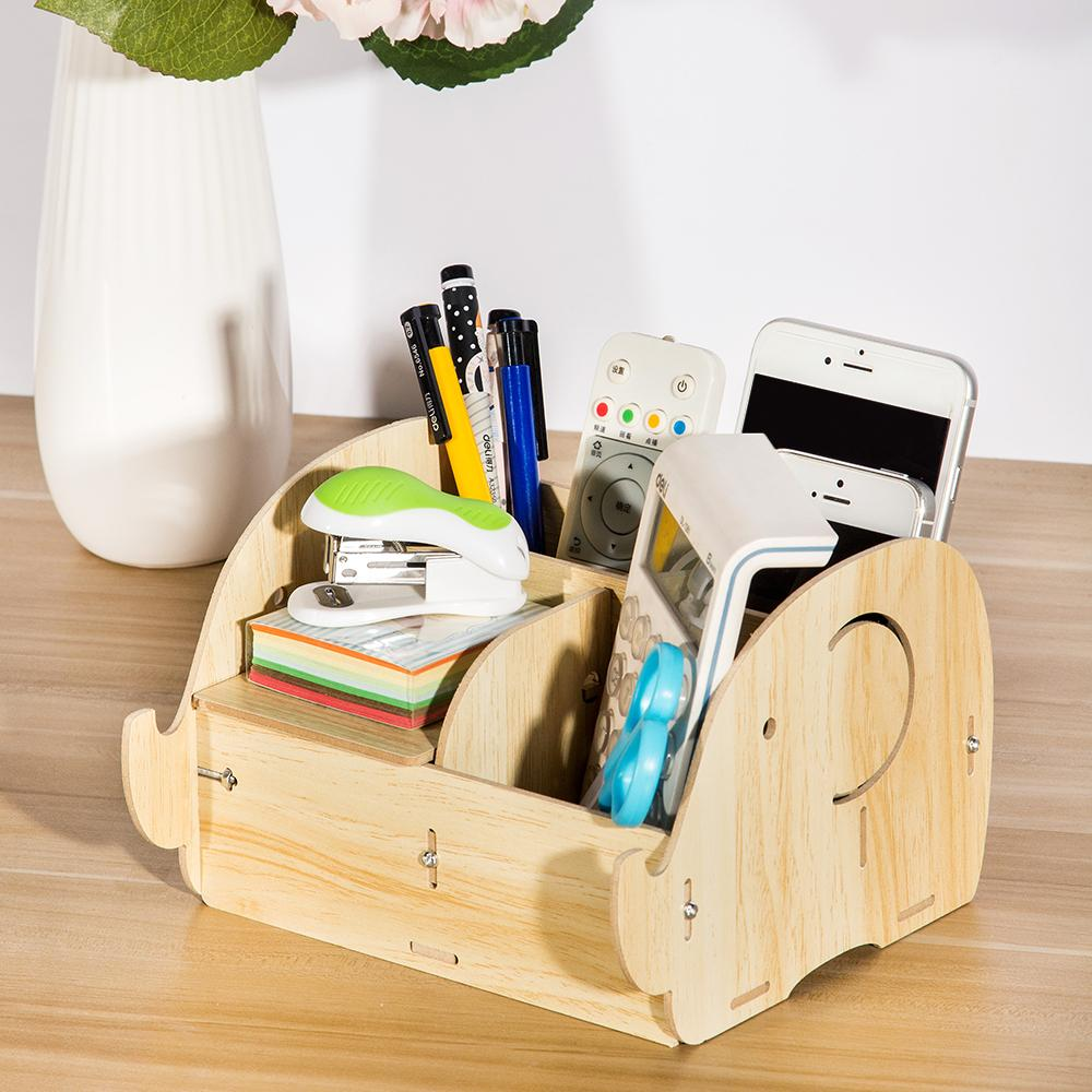 DIY Wooden Makeup Cosmetic Organizer Storage Box Holder for Jewelry Pen Office Supplies Desktop Shortage Organizer Container