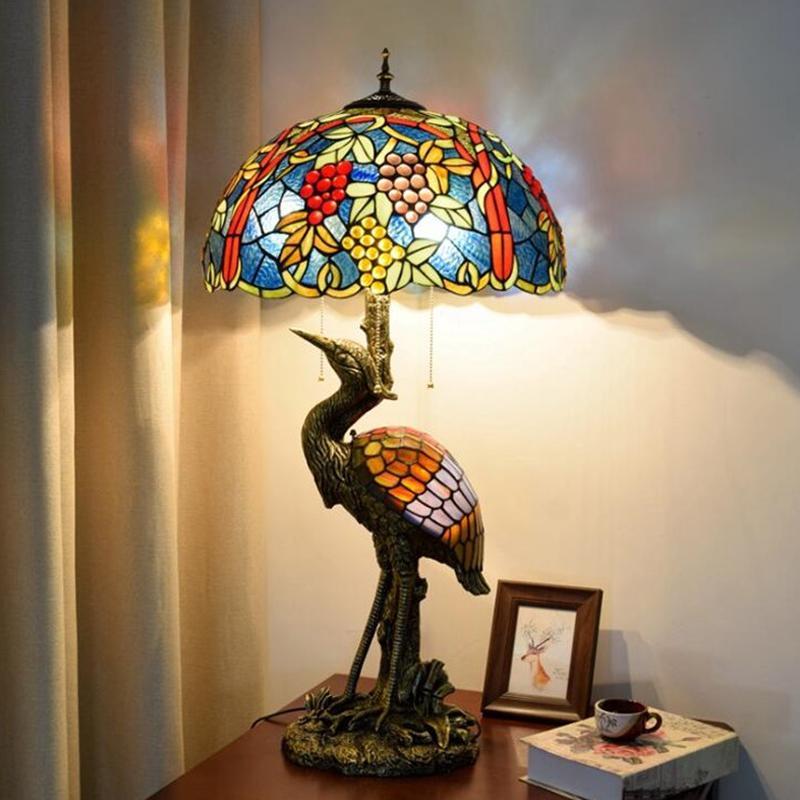 تيفاني على غرار العنب زخرفة الزجاج مصباح طاولة غرفة المعيشة الطعام مصباح مكتبي غرفة الجدول الزجاج الملون مصابيح TF086
