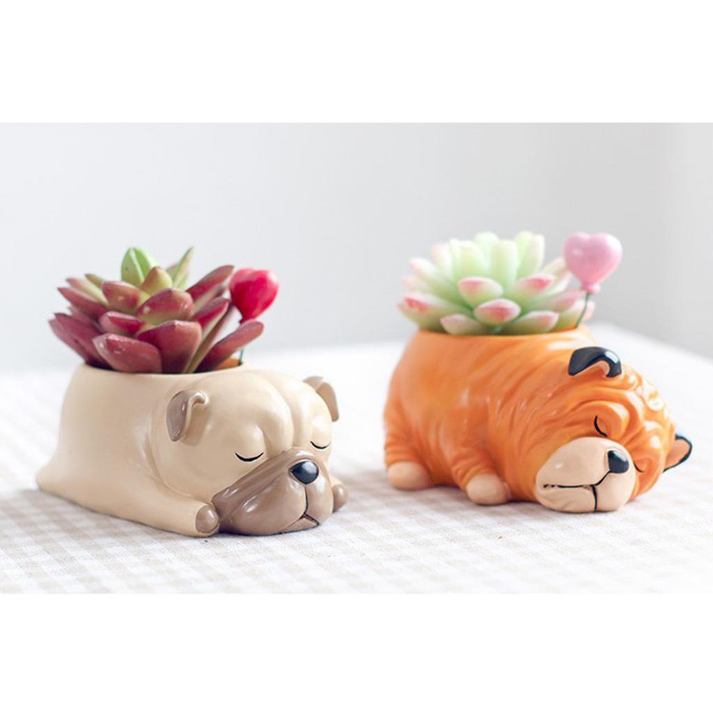 2pcs Petit Chien animal Succulent Cactus Pot Plante, Container Résine Pot de fleurs Jardinière pour décoration de la maison, Carlin Shar Pei