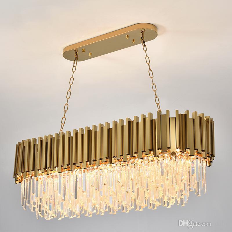 Lampadario per lampada da cristallo moderno per viventi ovale lusso oro rotondo in acciaio inox lampadari lampadari illuminazione FedEx