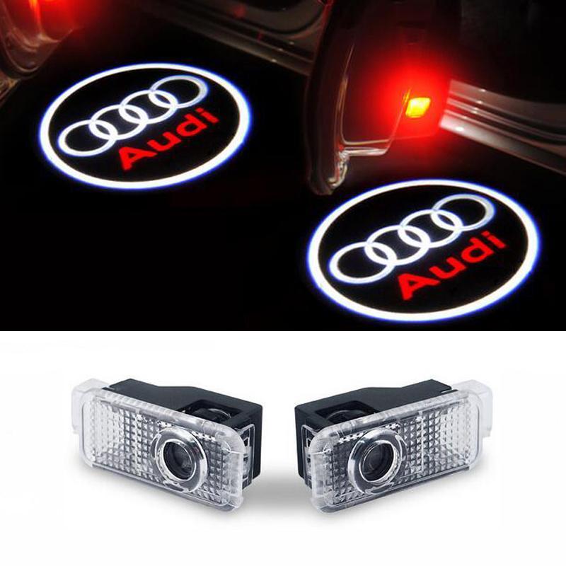 2PCS السيارات LED الباب شعار الضوء لأودي A3-A4 B8 B6 A5 B7 A3 A6 C5 A6 C6 Q7 Q5 Q3 A1 A7 R8 TT TTS SLine شبح الظل بركة مصباح