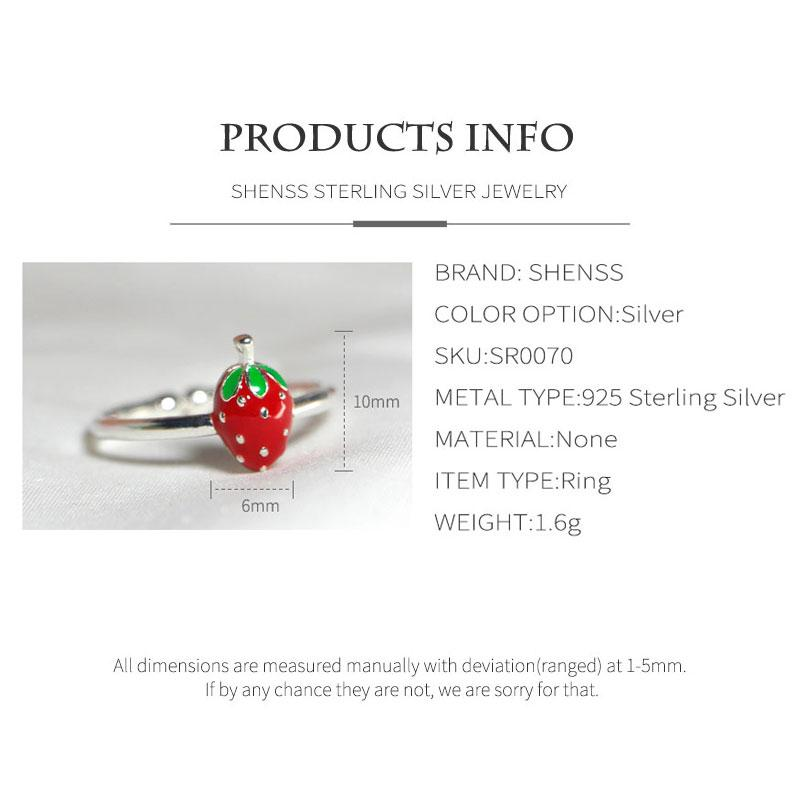 Elegant Quality 925 Rings Fashion Sweet Small Strawberry Shape Ring 925 Sterling Silver Ring for Women Gift