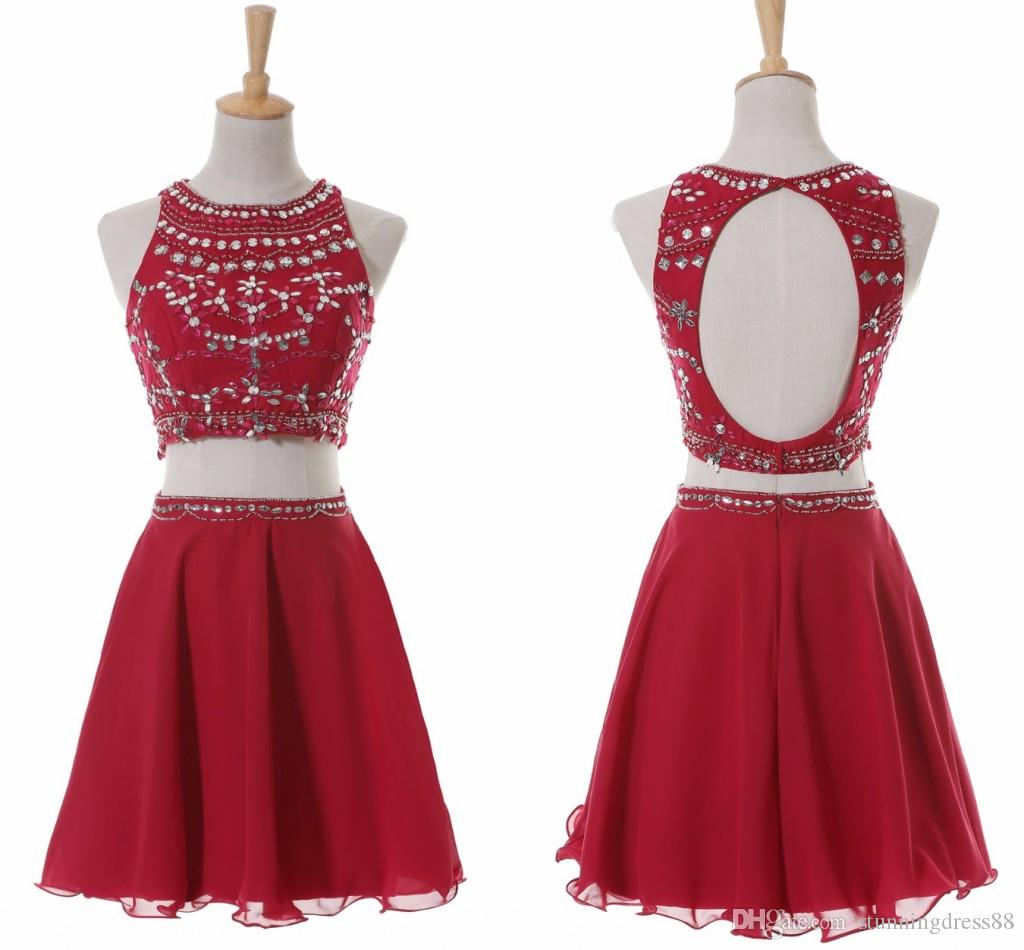 Горячие Продажи Бургундия короткие выпускные платья замкнув замочные скважины Двух частей шифоновые блестки кристаллы формальные платья платье платье платье