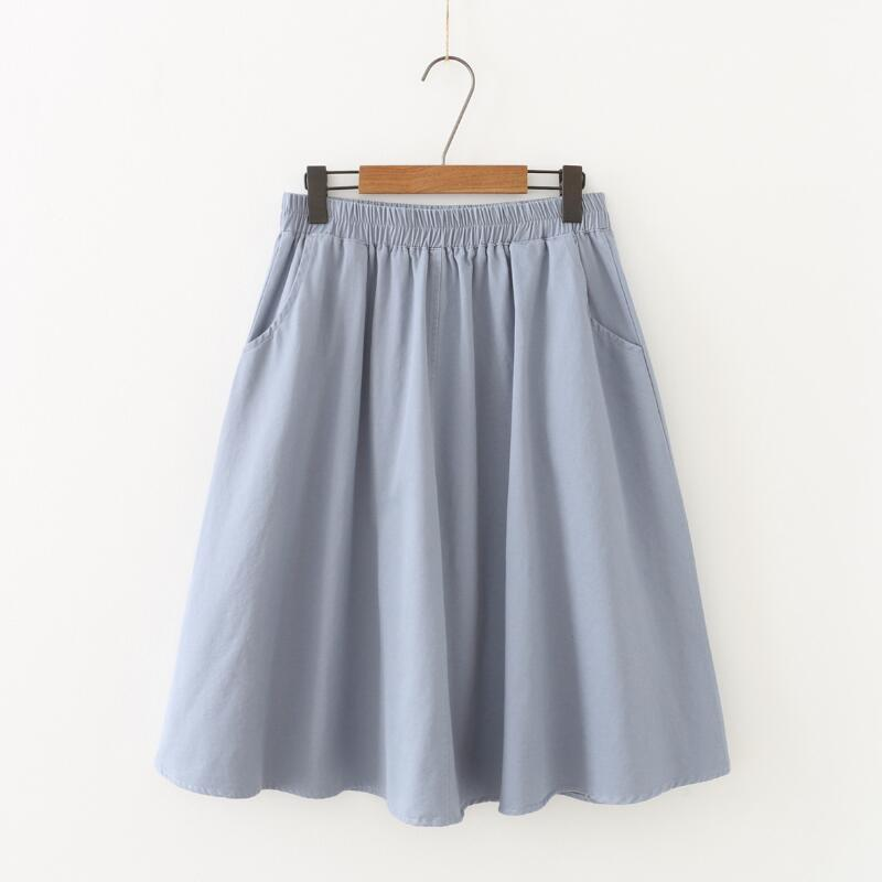 2020 Verano Otoño algodón de las mujeres de la falda más el tamaño ocasional de la falda femenina de cintura alta falda plisada larga elegante Faldas Mujeres S483