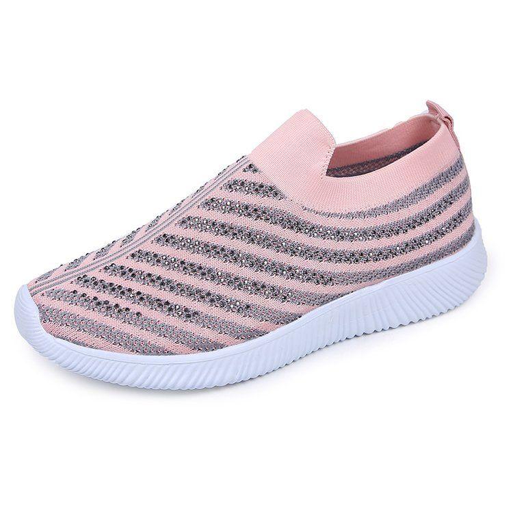 Scarpe casual per il tempo libero di nuovo stile di alta qualità Moda strass Abito scarpe punta rotonda fondo piatto Heel tennis scarpe traspiranti