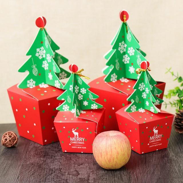3D-Weihnachtsbaum-Geschenk-Box mit Bell-Papier-Süßigkeit-Kasten DIY Plätzchen Cholocate Papier Apple-Box Frohe Weihnachtsdekoration Verpackung T6Y