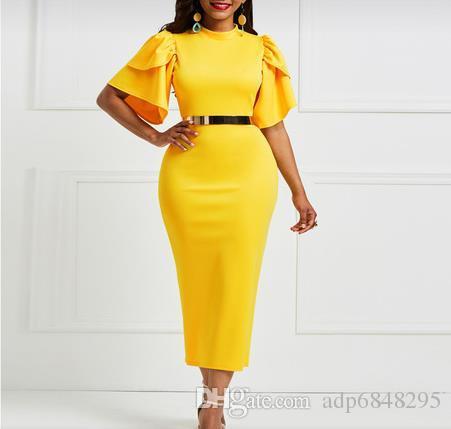 Bahar 2019 yeni moda katı renk sıkı gündelik elbise seksi İnce çok renkli lamine kollu bir adım elbise zarif kadın elbise