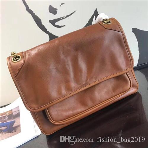 Mensajero bolsos de diseño bolsa de grasa en la piel de cera de alta calidad bolso de cuero real de lujo mujeres de los bolsos de cadena del metal del bolso de la moda