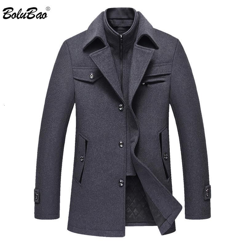 BOLUBAO Men Winter Wool Coat Men's Fashion Brand Comfortable Warm Thick Wool Blends Woolen Pea Coat Male Trench Coat Overcoat V191205