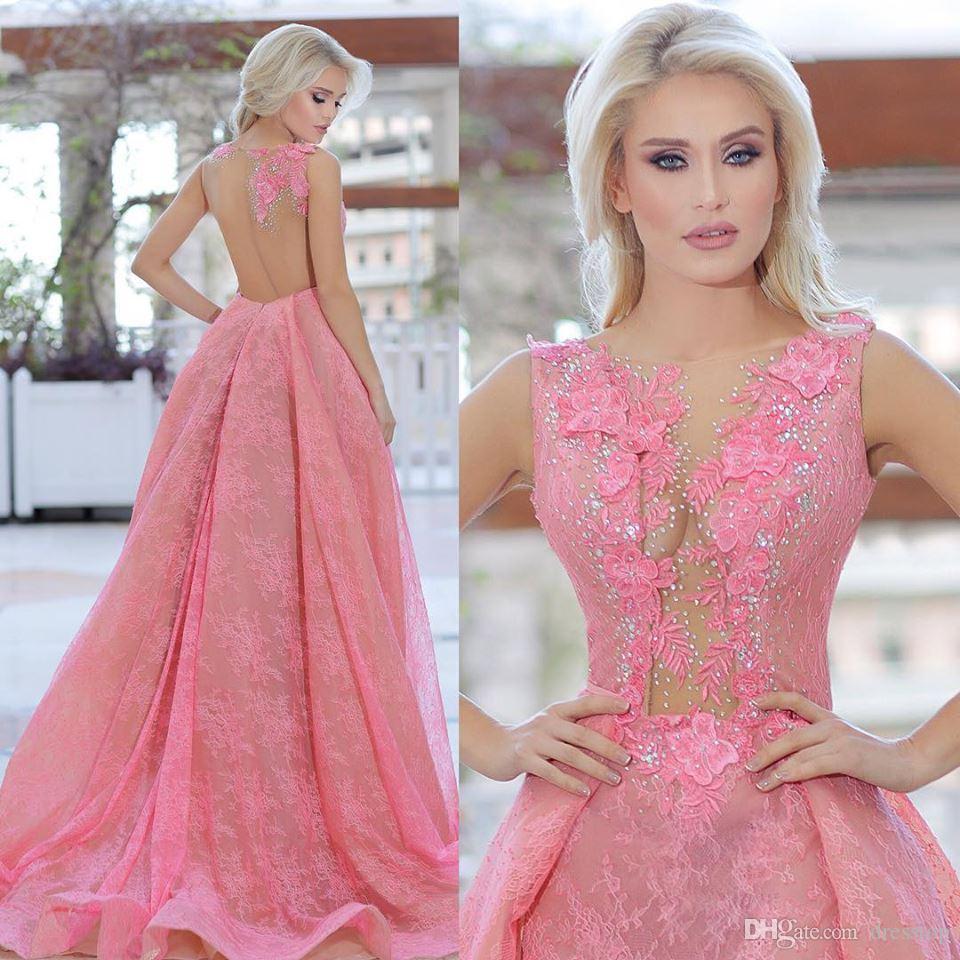 Vintage rosa sirena sirena abiti da sera con treno rimovibile con collo sheer senza maniche in pizzo abiti da ballo sweep sweep treno abiti occasioni speciali