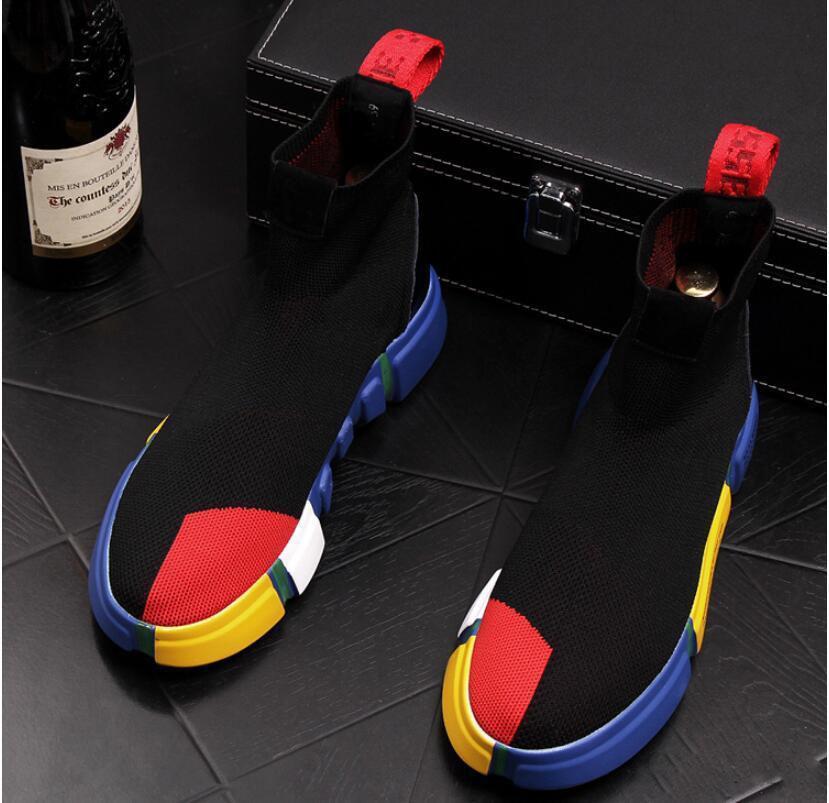 2020 Meias desenhador sapatas dos homens de moda de alta tops de tênis instrutor velocidade Black Glitter homens formadores calçados casuais Runner pesado únicos