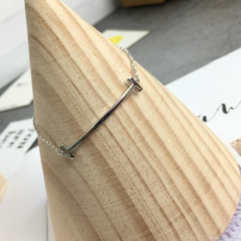 925s genuínos Carta duplo T sem Diamond Mulheres Bracelet Smiley pulseira selvagens diário chinês de Vendas Diretas