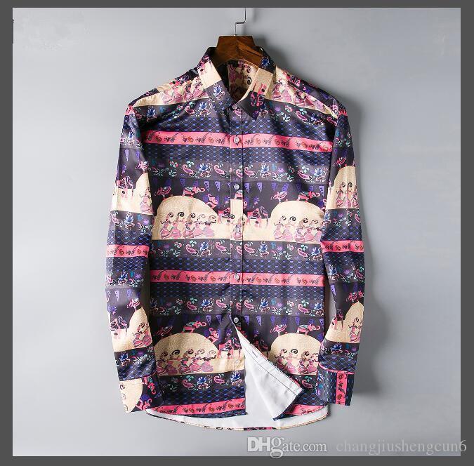 2019 высокое качество мужская медуза с длинным рукавом бизнес принт рубашка кнопка отворот британская мода мужская рубашка с длинным рукавом