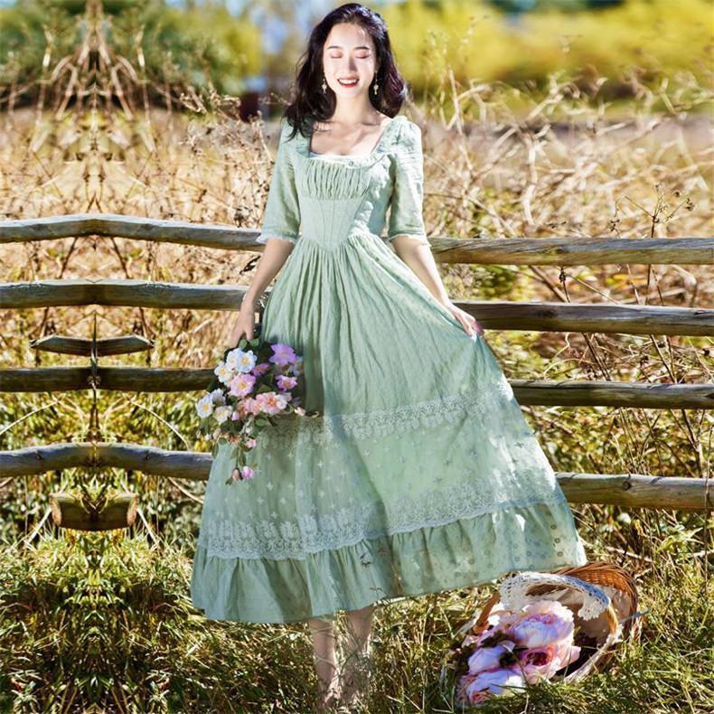 Yeni Yüksek Kaliteli Patlamalar Boş Vintage renk eşleştirme Elbiseler Kadınlar Bahar Casual Dress yazdırmak