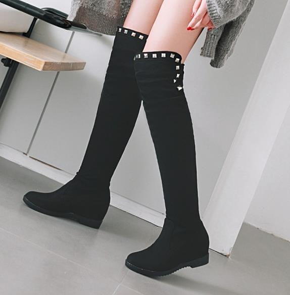 뜨거운 판매 플러스 허벅지 높은 부츠 패션 명품 디자이너 여성 부츠 엉덩 리벳 (30) 무릎 위로 회색 스웨이드 웨지 (48)에 크기