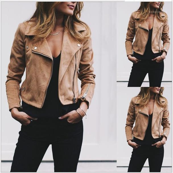 Мода Zipper Fly пальто вскользь сплошной цвет женщин Верхняя одежда с кнопкой осени женщин отворотом шеи куртки